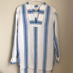 J.Crew Striped Linen Tunic or Beach Cover Up
